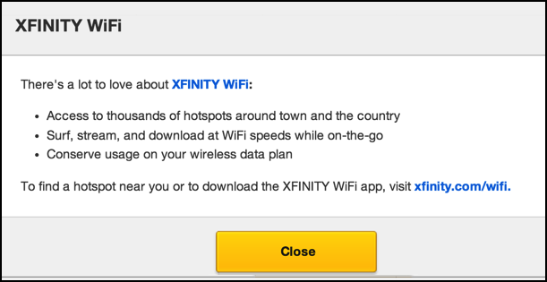 disable comcast xfinity hotspot - not enabled for your area