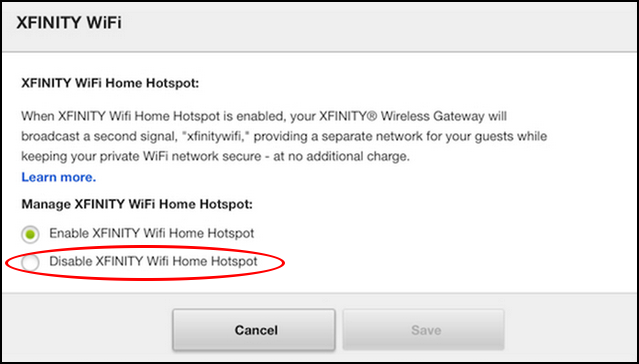 turn off disable opt-out comcast wifi hotspot