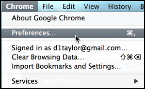 Google Chrome Mac OS X preferences settings