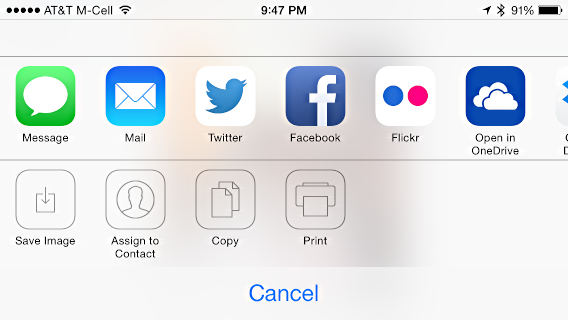 print button, etc, in photos app iphone 5s
