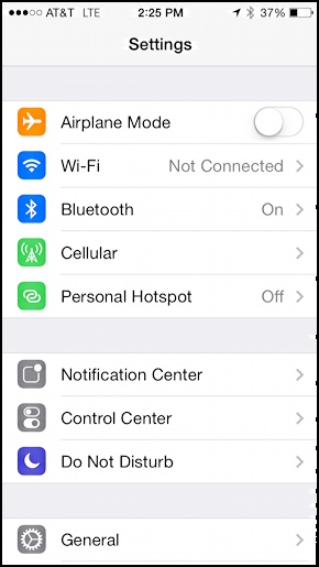 iphone ios 7 settings personal hotspot