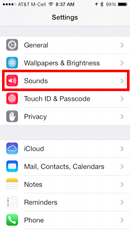 Settings, with Sounds highlighted in iOS 7