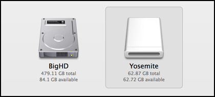 two drives to choose from with the osx yosemite 10.10 installer