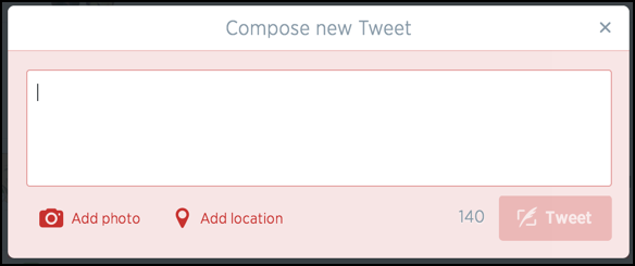 compose a tweet, including photo upload and location tagging