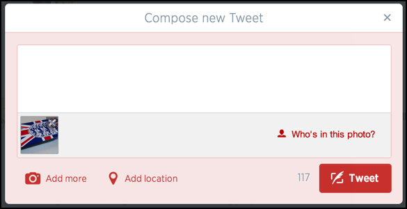 add text message to photo post on twitter tweet