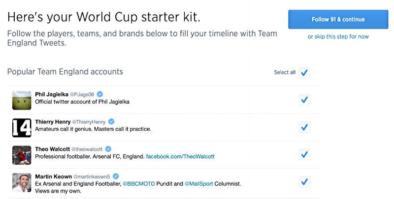 people to follow for your world cup team on twitter tweet