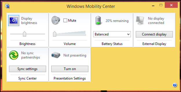 Windows Mobility Center
