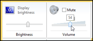 screen brightness and volume / mute settings win8