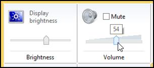 screen brightness and volume / mute settings win8