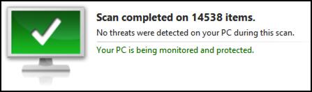 a clean bill of spyware, malware, virus health