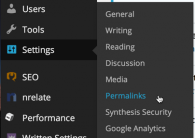 wp wordpress settings > permalinks