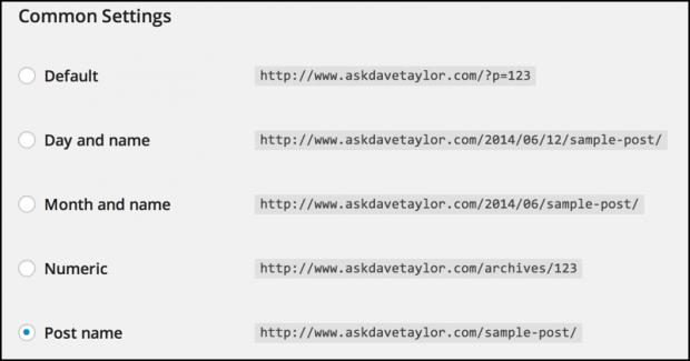 wp wordpress permalink settings options preferences