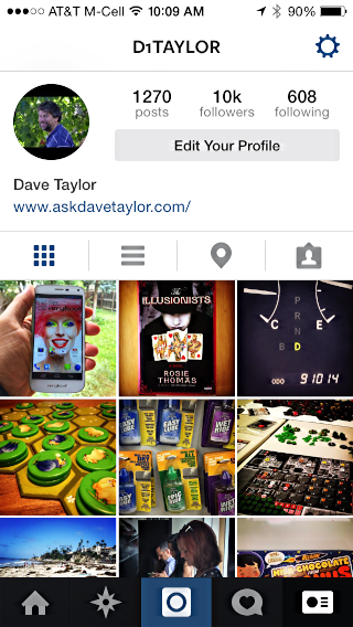 profile page in instagram