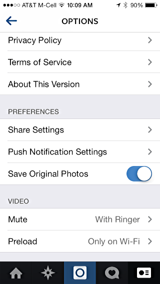 settings and preferences, instagram on an ios 8 iphone 5s