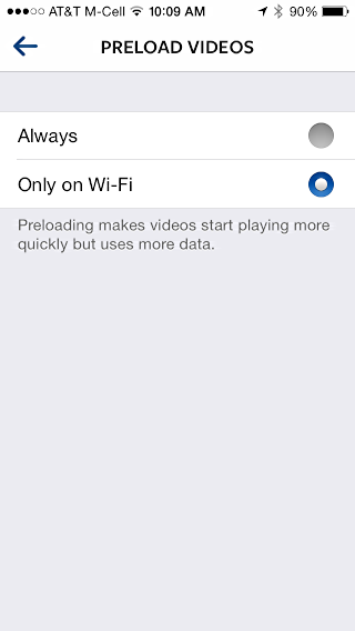 preload video options in instagram