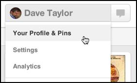 user options menu in pinterest