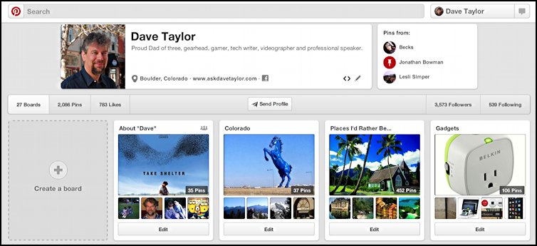 pinterest user profile and pinboards