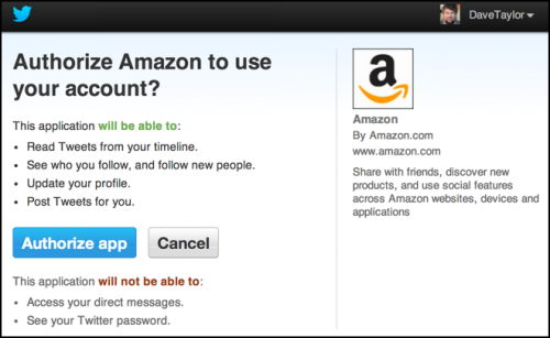 authorize amazon app to tie in to twitter