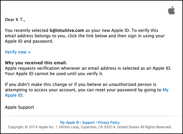 verify your apple id email address