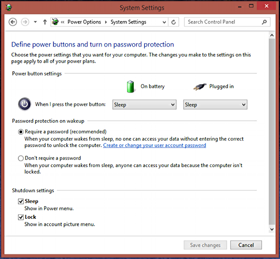 define power button functionality windows 8 8.1