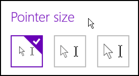 default cursor arrow size microsoft windows 8.1