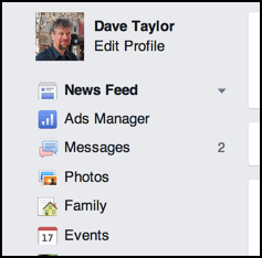 click on 'Events' in Facebook