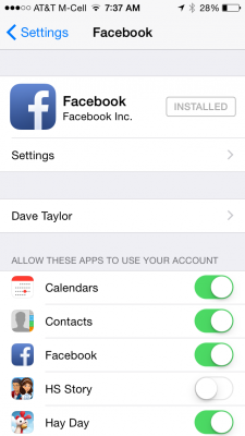 facebook app settings in iphone 5 5s ios 7 ios 8