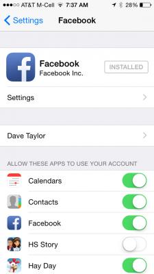 facebook app settings in iphone 5 5s ios 7 ios 8
