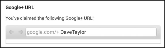 personal URL on Google Plus