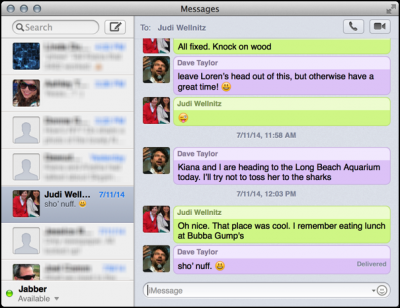 main window imessage messages