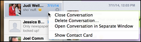 conversation context menu