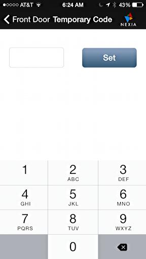 set temporary unlock access code schlage touchscreen deadbolt via nexia