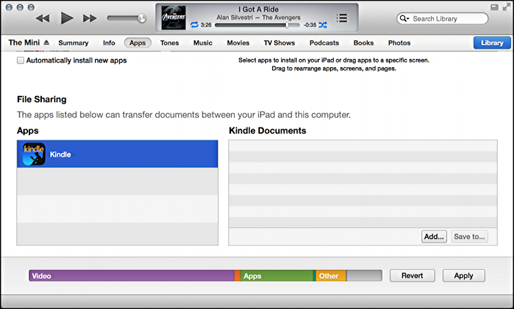 remote file storage manager in itunes for ipad mini and ipad air
