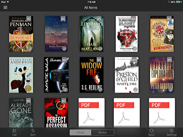 kindle app for ipad mini air in library view