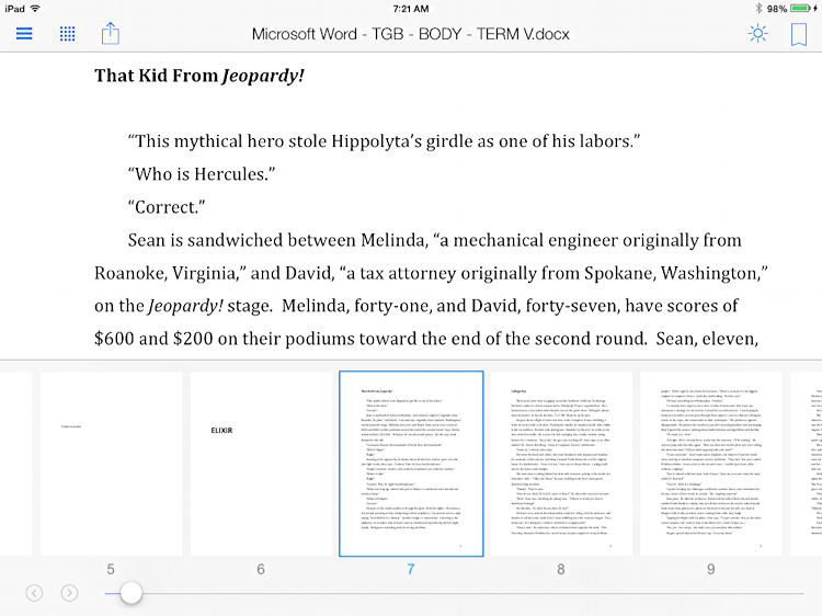 viewing reading a pdf file document book in kindle app