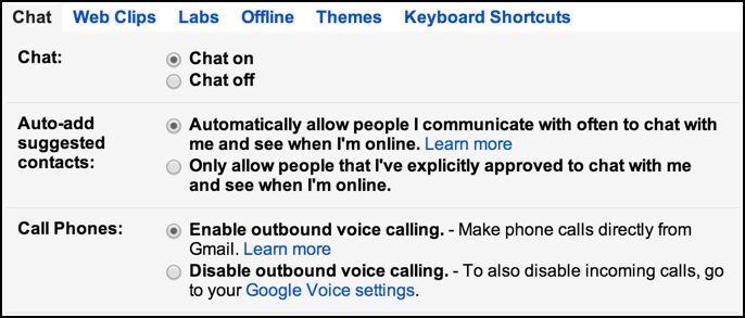 google chat voice phone calls within gmail settings
