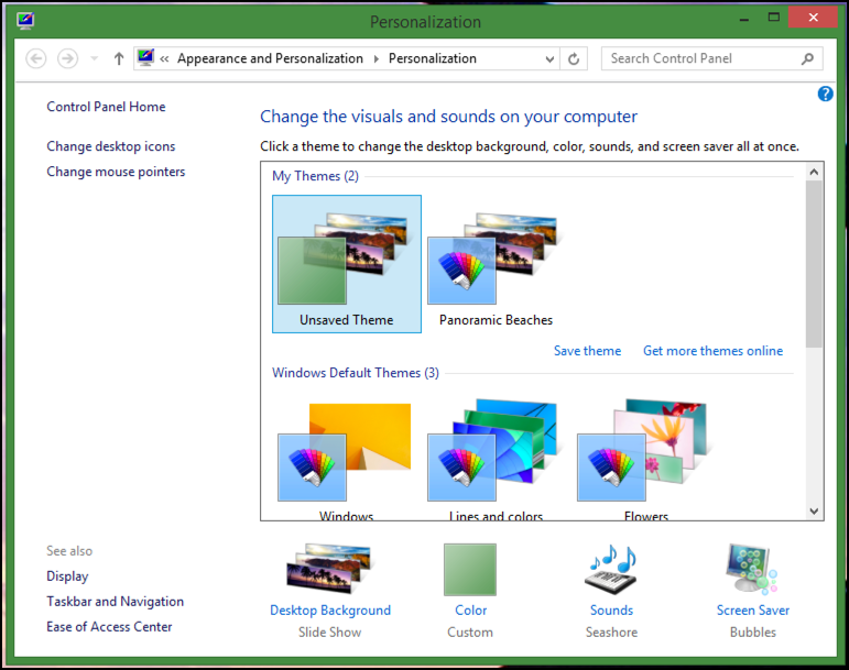 customize your win8 theme in microsoft windows 8.1