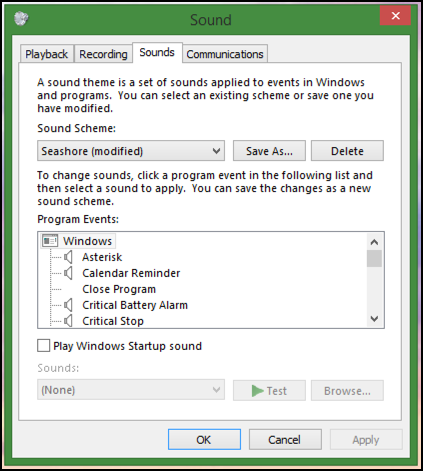 windows sound theme appearance sounds audio music customize