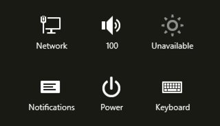 power and other settings, win8 charms bar