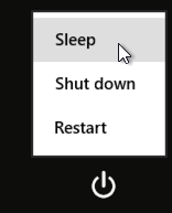 sleep, shut down, restart win8