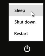 sleep, shut down, restart win8