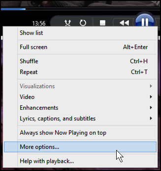 main contextual menu windows media player windows 8 win8