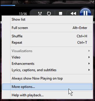 main contextual menu windows media player windows 8 win8