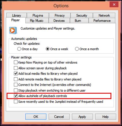 windows 8 media player options