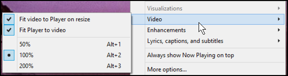 video submenu in wmp