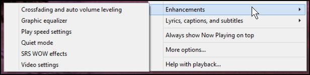wmp enhancements menu