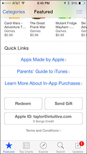 redeem link at bottom of featured screen in iphone ipad app market