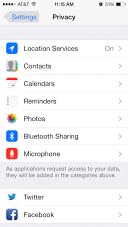 ios7 privacy settings facebook
