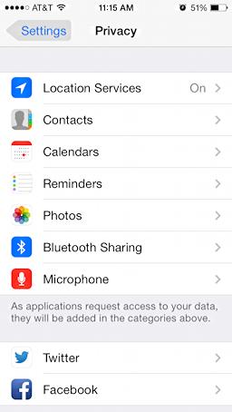 ios7 privacy settings facebook