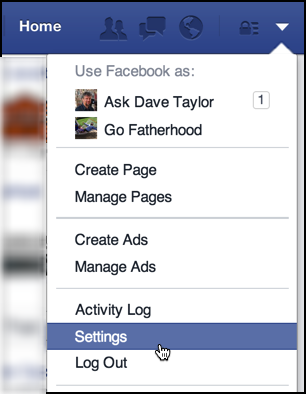 settings / gear menu in facebook